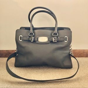 Gray leather Michael Kors handbag with long strap